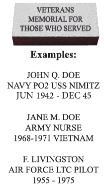 Examples of Veterans Memorial pavers